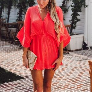 LAST ONE Pleated Romper Coral dolman sleeves small